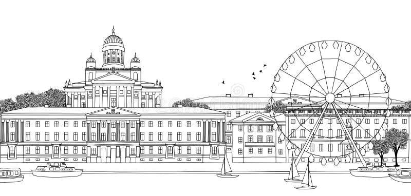 Sömlöst baner av Helsingfors royaltyfri illustrationer