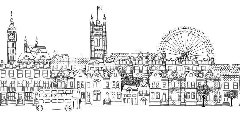 Sömlöst baner av London horisont royaltyfri illustrationer