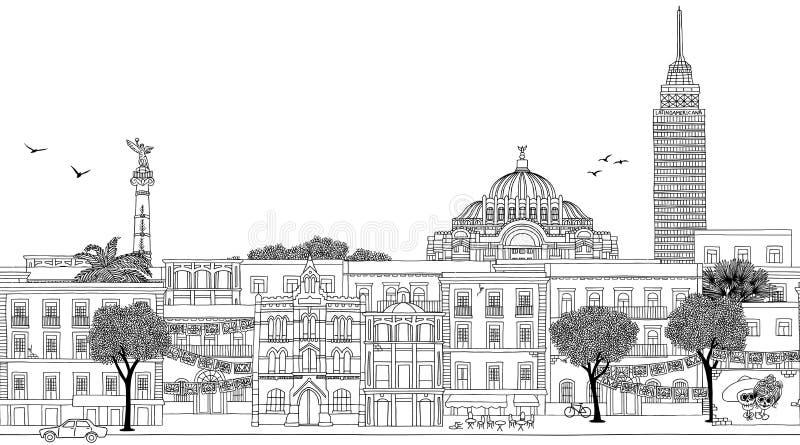 Sömlöst baner av Mexico - stad vektor illustrationer