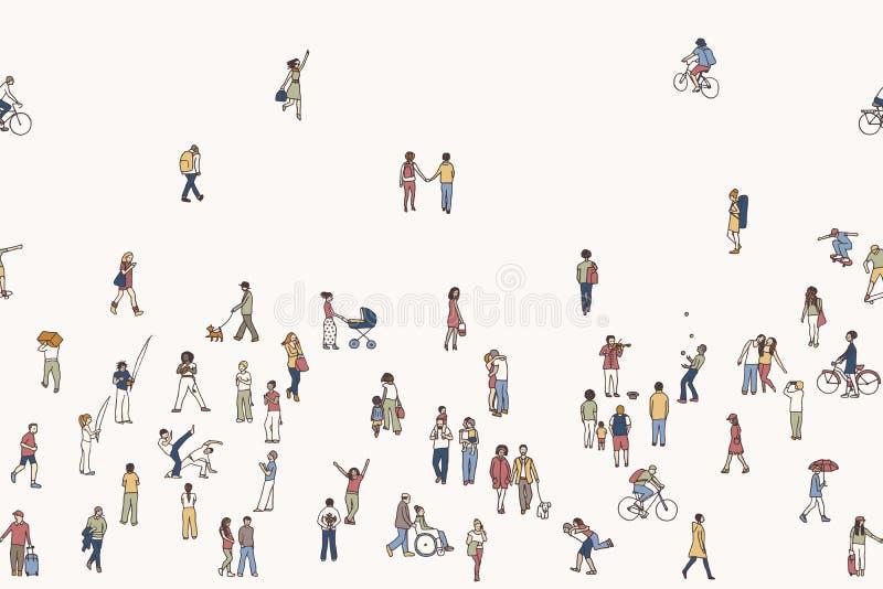 Sömlöst baner av mycket litet folk vektor illustrationer