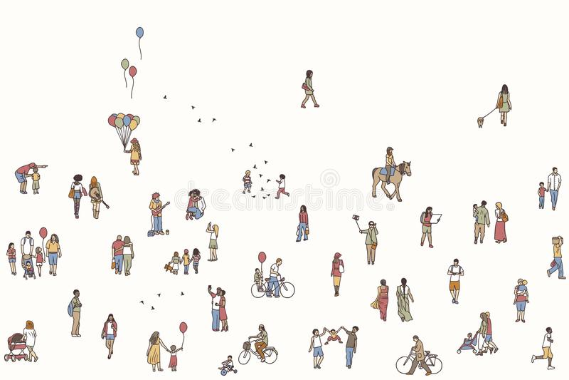Sömlöst baner av mycket små gångare stock illustrationer