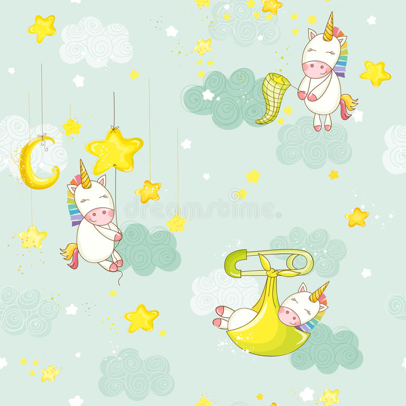 Sömlöst behandla som ett barn att sova på en stjärna Unicorn Background Pattern stock illustrationer