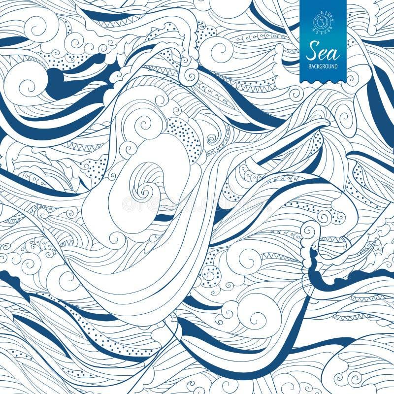 Sömlöst blått band för våghandteckning vektor illustrationer