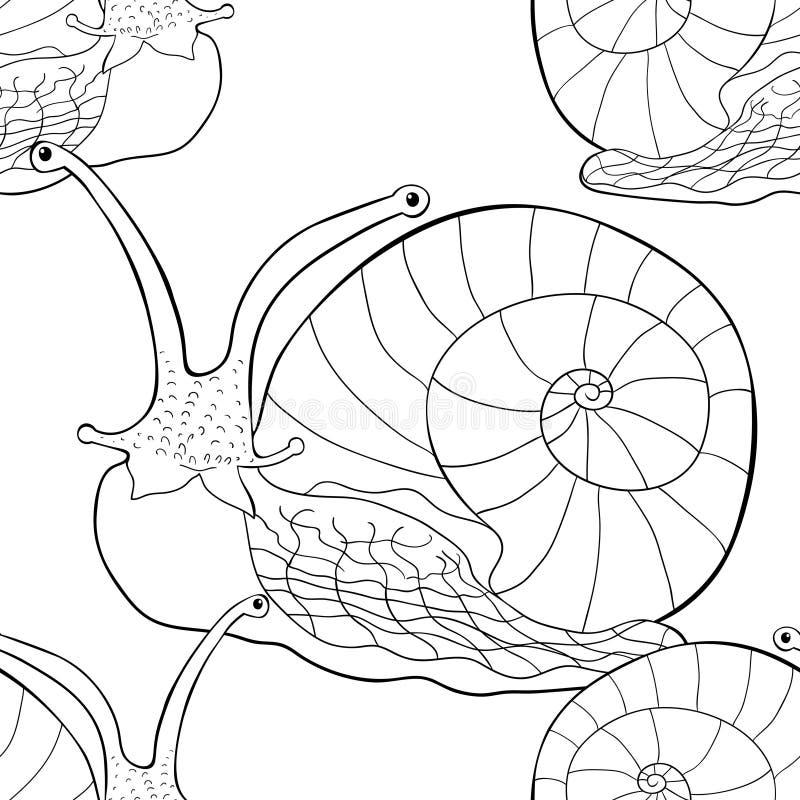 Sömlöst blötdjur för gastropod för modellkrypsnigel Vektorillustra royaltyfri illustrationer
