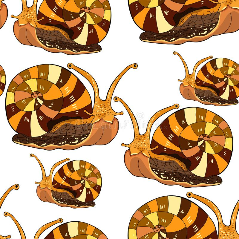 Sömlöst blötdjur för gastropod för modellkrypsnigel Vektorillustra stock illustrationer