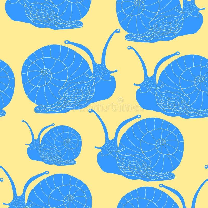 Sömlöst blötdjur för gastropod för modellkrypsnigel Vektorillustra vektor illustrationer