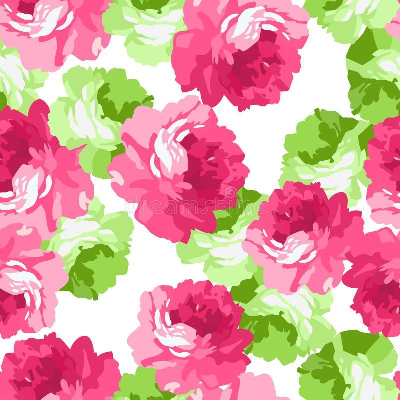 Sömlöst blom- smattrande med rosa rosor royaltyfri illustrationer