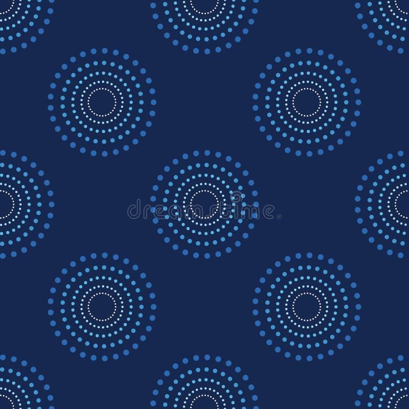 Sömlöst cirkelDots Blue Background Abstract Pattern mörker 1 vektor illustrationer