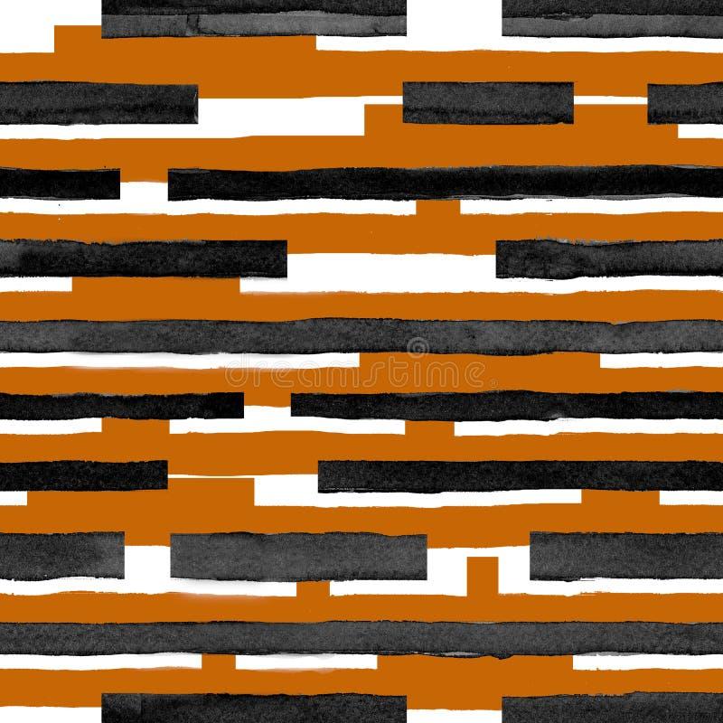 sömlöst djurt tryck för abstrakt vattenfärgmodell, tiger, svartvita strimmor vektor illustrationer