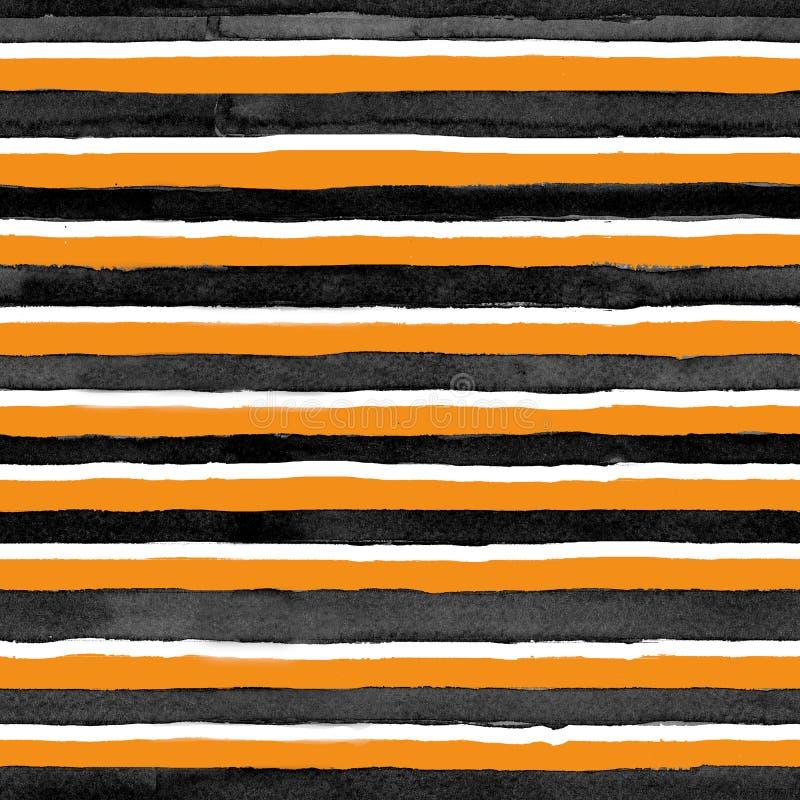 Sömlöst djurt tryck för vattenfärgmodell, tiger, svartvita strimmor vektor illustrationer