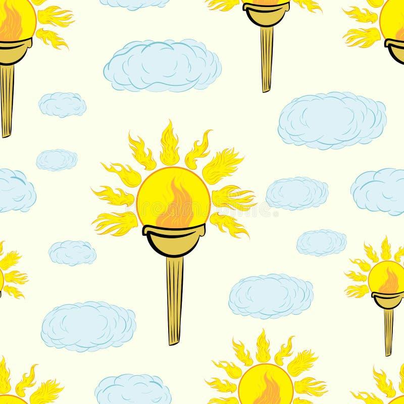 Sömlöst en fackla med solen royaltyfri illustrationer