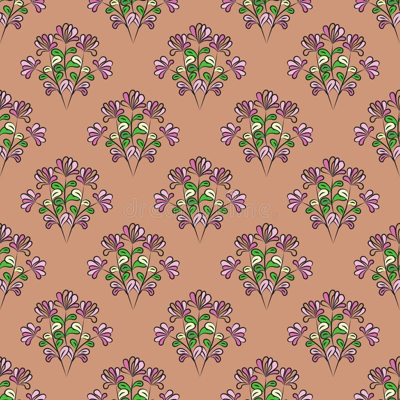 Sömlöst floralt mönster med svart kontur, mauve blommor, gult, grönt och rosa blad, brurosa bakgrund, vektor stock illustrationer