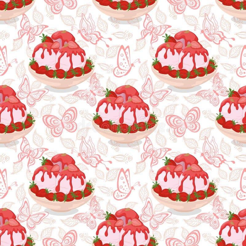 Sömlöst, glass, jordgubbar och fjärilar stock illustrationer
