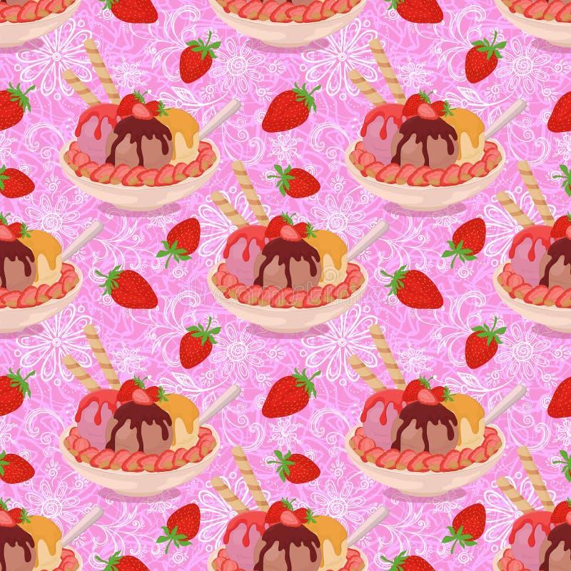 Sömlöst, glass och jordgubbar stock illustrationer