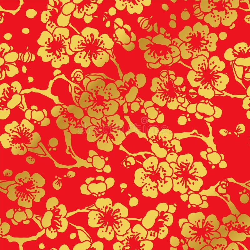Sömlöst guld- kinesiskt bakgrundskors Plum Blossom vektor illustrationer