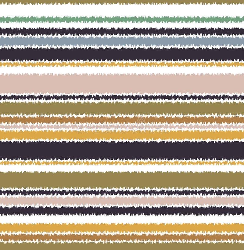 Sömlöst klottra horisontalbandmodellen royaltyfri illustrationer