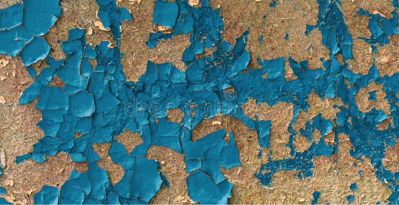Sömlöst knastrar textur av sprucken blå emaljmålarfärg på träyttersida abstrakt bakgrundsgrunge Tappningmodell från sprickor, arkivfoto