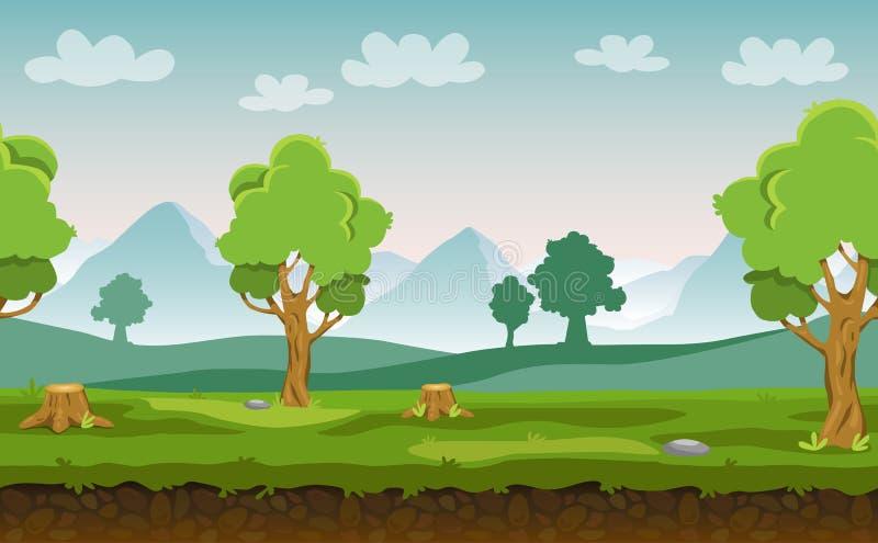 Sömlöst landskap för plan tecknad filmvektor med träd, kullar och berg i bakgrunden för din lek royaltyfri illustrationer