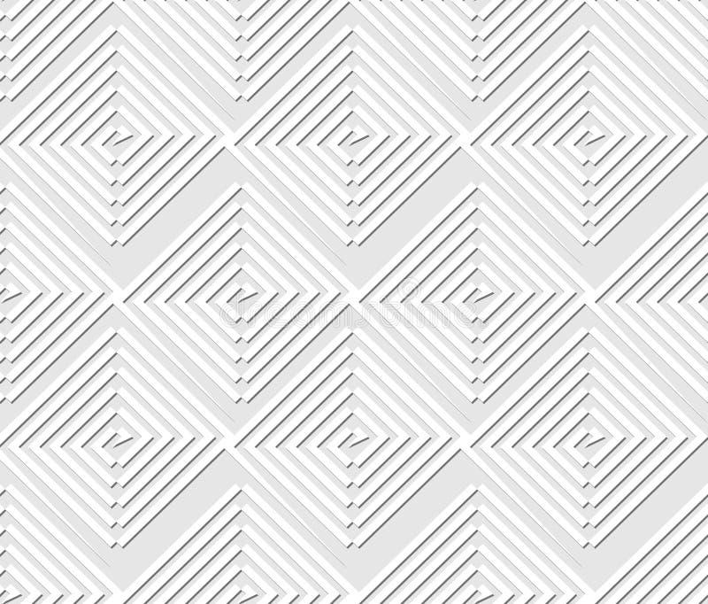 Sömlöst ljus som kontrasterar geometrisk bakgrund med fyrkant- och triangelbeståndsdelar, vit linje modeller på ljus - grå bakgru stock illustrationer