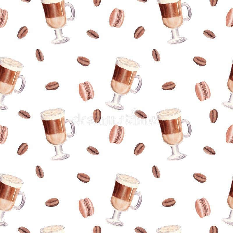 Sömlöst mönster för handmålat cafécupen Glas av chokladmocha-kaffe med macaroner och kaffebönor royaltyfri illustrationer
