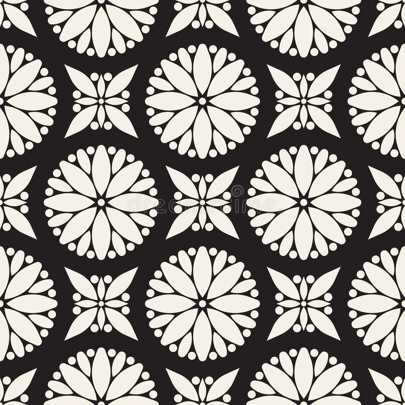 Sömlöst mönster för Vector Modern elegant abstrakt struktur Upprepa geometriska cirkel och stjärnor från dekorativa rutor royaltyfri illustrationer