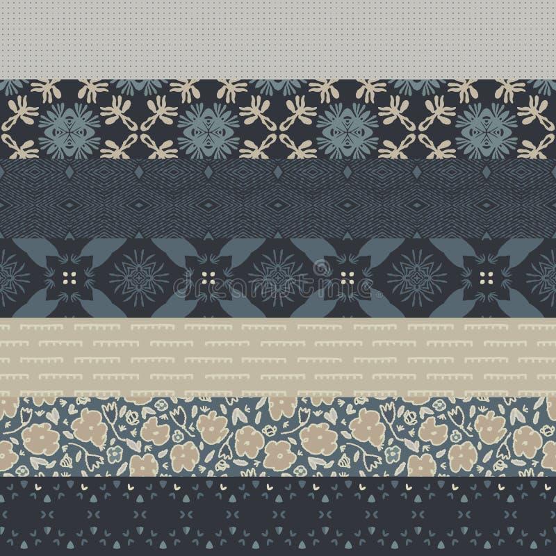 Sömlöst mönster för vintermönster Hand Drawn Ditsy Floral Quilt Background Neutrala muterade toner Moody Prairie Winter vektor illustrationer