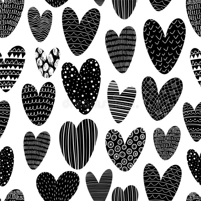 Sömlöst mönster i hjärtsilhuette med dockelement Svart och vit ornament Handdragna kärleksikoner med linjer och punkter vektor illustrationer