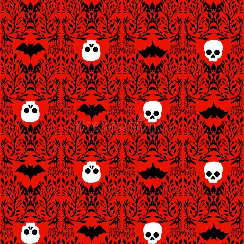 Sömlöst mönster i Viktorian Gothic stil med skalle, fladdermöss, instängda i växter, isolerad blodrörd bakgrund Halloween vektor illustrationer