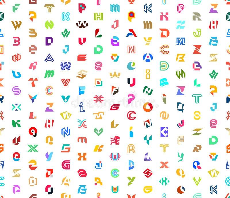 Sömlöst mönster med Abstract-logotyper med bokstäver arkivbild