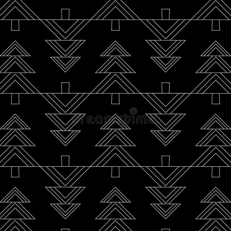 Sömlöst mönster med geometriska julgranar God jul och gott nytt år Konstruerad bakgrundsdesign modern vektor illustrationer