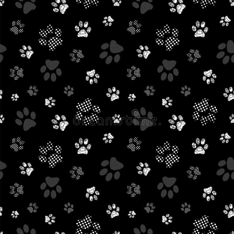 Sömlöst mönster med mönstrade tassar Komplexa bilder skrivs ut i vitt, grått och svart vektor illustrationer