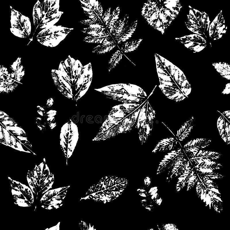 Sömlöst mönster med stämpelblad Minimalistisk konst Objekt isolerade vita mot svart bakgrund stock illustrationer