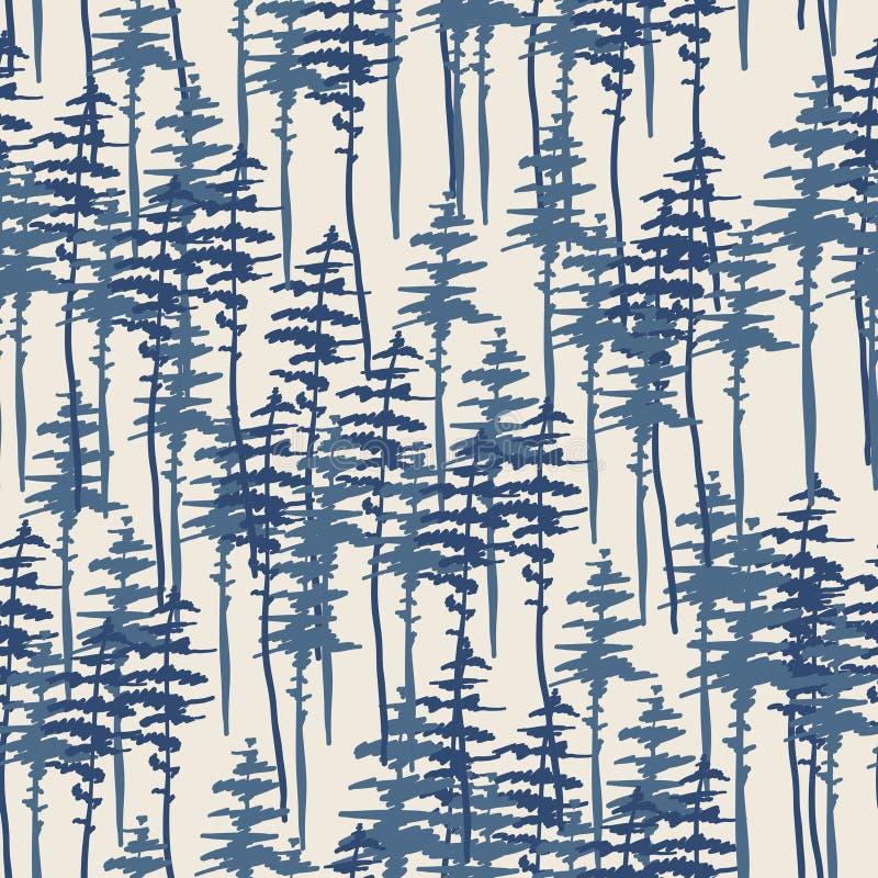 Sömlöst mönster, natur, landskap Evergreen barrträd tjära, gran stock illustrationer