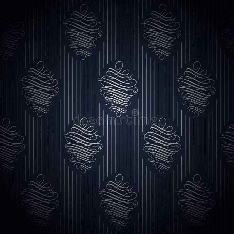 Sömlöst mörker - blå tapet i retro stil stock illustrationer