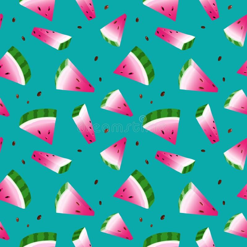 Sömlöst med vattenmelon, grön bakgrund vektor illustrationer