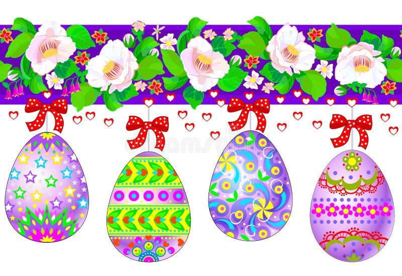 Sömlöst modellband för påskhälsningsdag Illustration av stiliserade festliga ägg och rik blommagarnering Modernt tryck stock illustrationer