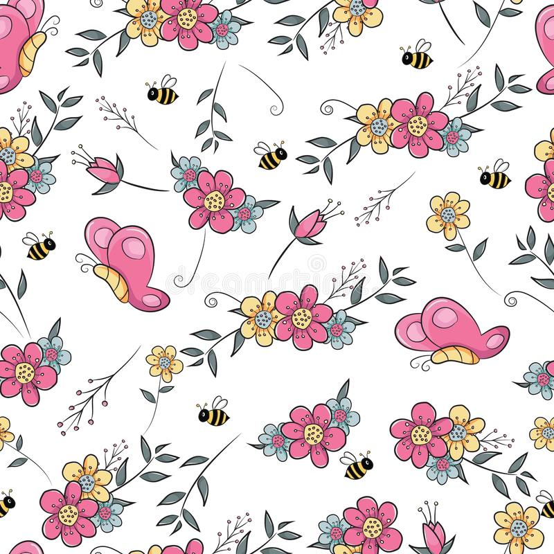 Sömlöst modellblommafält med fjärilen och biet royaltyfri illustrationer