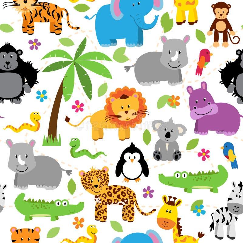 Sömlöst modeller för bakgrund för Tileable djungel djura Themed stock illustrationer