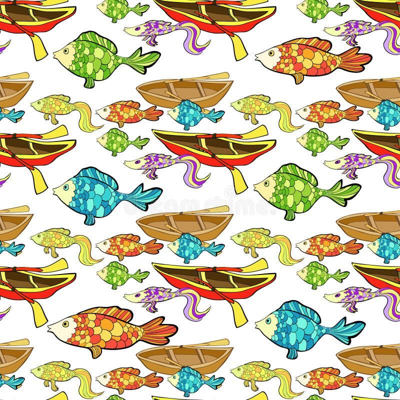 Sömlöst modellfartyg, fisk som fiskar också vektor för coreldrawillustration royaltyfri illustrationer