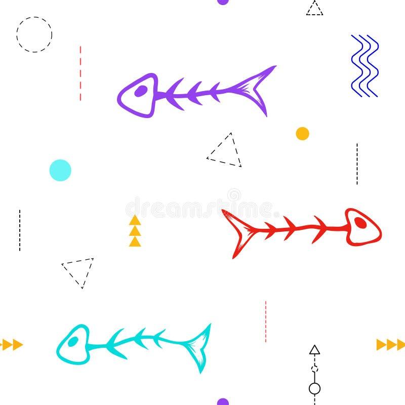 Sömlöst modellfiskskelett vektor illustrationer