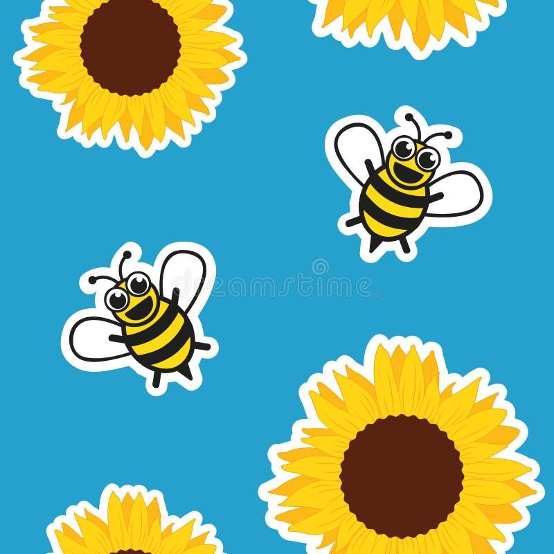 Sömlöst modellhonungbi och solros på blå bakgrund stock illustrationer