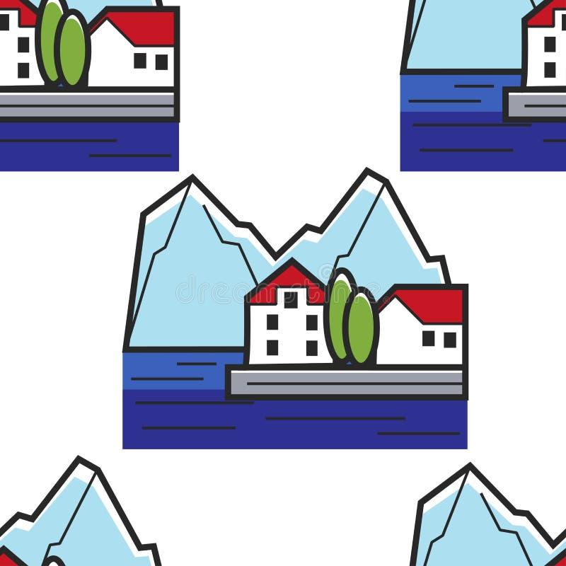 Sömlöst modellhus för montenegrinskt landskap på kust och berg royaltyfri illustrationer