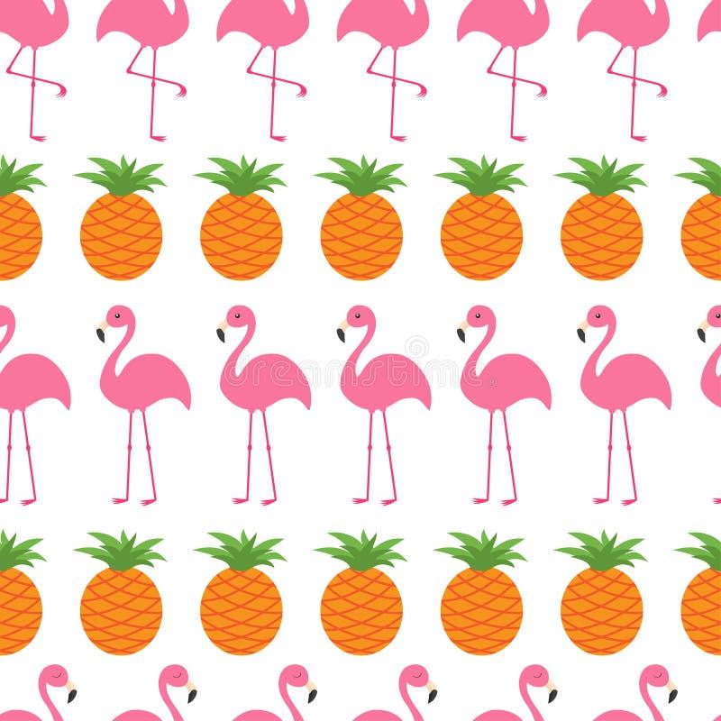 Sömlöst modellinpackningspapper, textilmall Rosa flamingouppsättning för ananas Exotisk tropisk fågel Zoodjuret lurar samlingen vektor illustrationer