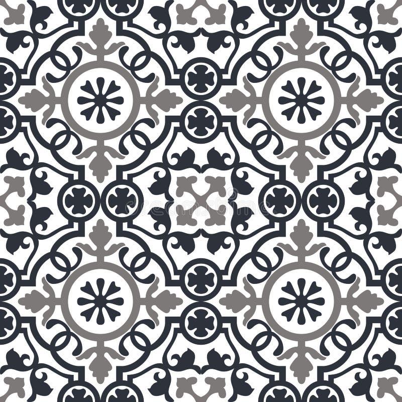 Sömlöst modellmörker - vita moroccan prydnader för blått och vektor illustrationer