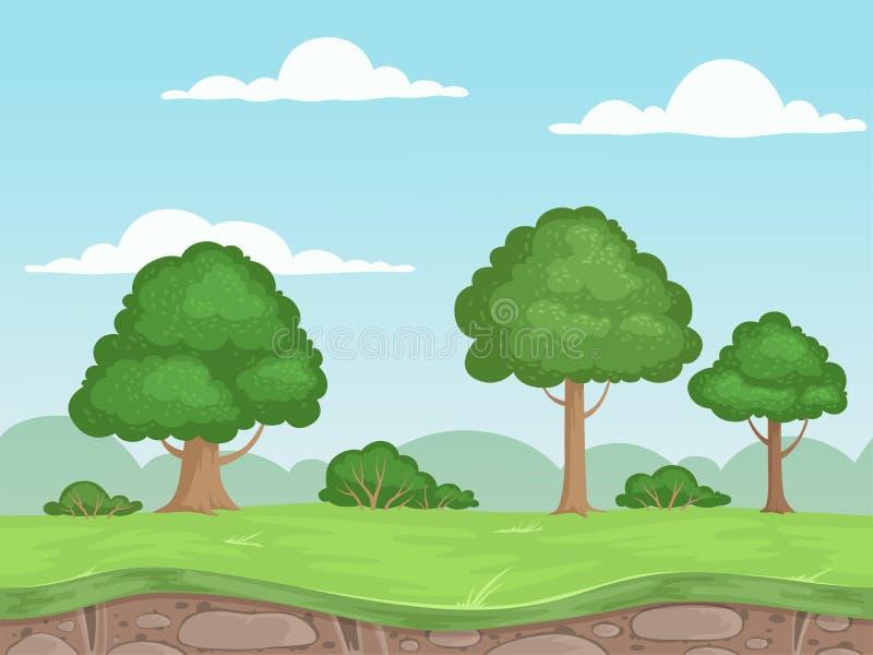 Sömlöst modigt naturlandskap Parallaxbakgrund för 2d modiga utomhus- bergträd och molnvektorillustrationer stock illustrationer