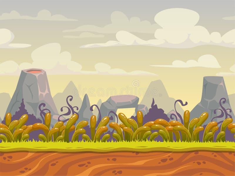 Sömlöst naturlandskap för fantasi vektor illustrationer