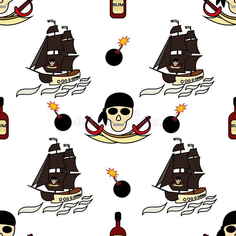 Sömlöst piratkopierar themed bakgrundsteckningar vid handen Piratkopiera symbol-svärd, ett skepp med svart seglar, skallen och be royaltyfri illustrationer