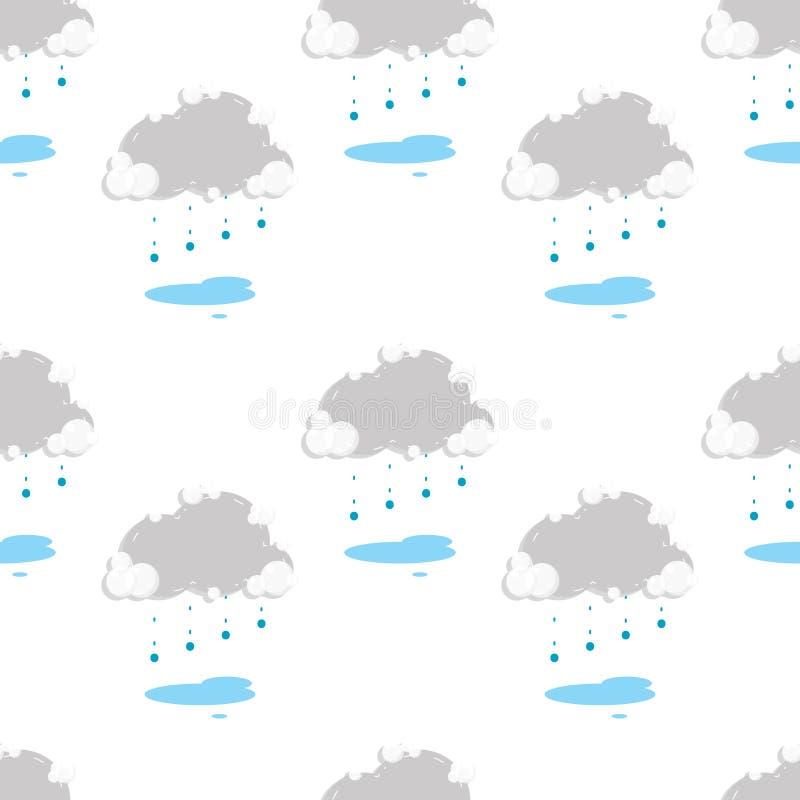 Sömlöst regnigt och moln royaltyfri illustrationer