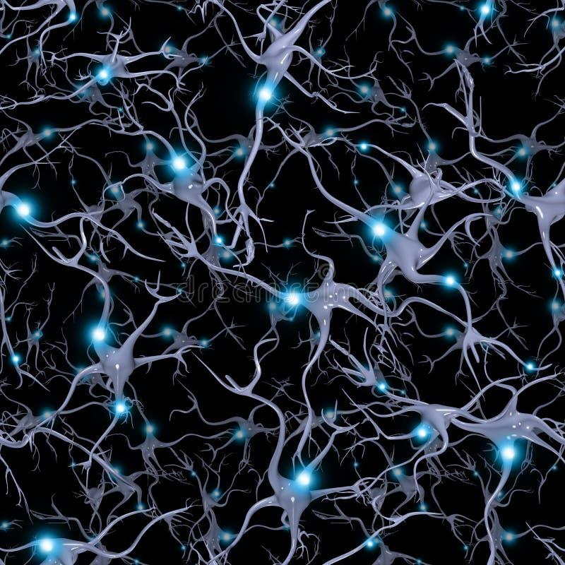 Sömlöst Repeatable Brain Cells royaltyfri illustrationer