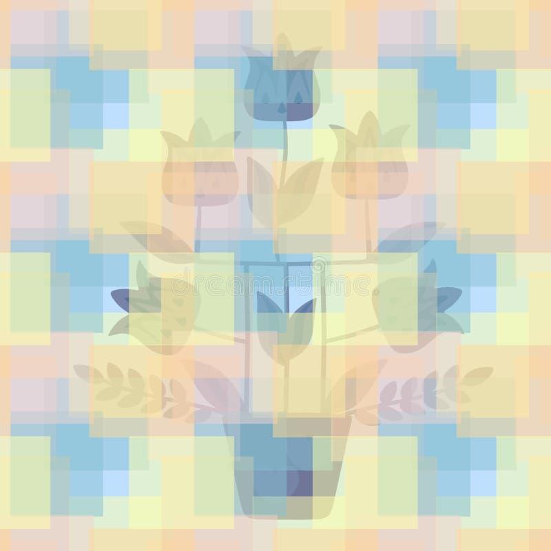 Sömlöst romantiskt blom- rutigt tryck för tyg i vektor Kontur av tulpanträdet i blomkruka Härlig gardin vektor illustrationer